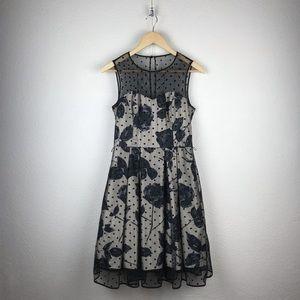 Eliza J l Retro Fit Flare Floral Polka Pinup Dress